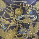 愛馬仕 Chale 絲巾 (黑/古銅/藍)