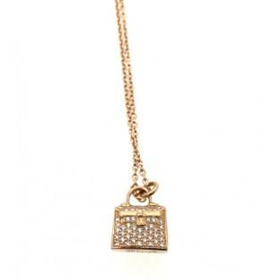 愛馬仕 Amulettes Kelly 玫瑰金鑽石頸鏈 H