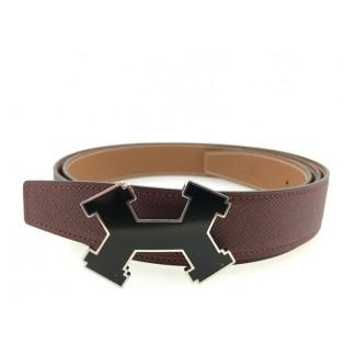 愛馬仕 5382 32mm 搪瓷扣雙面皮帶 120厘米 (紅/金)