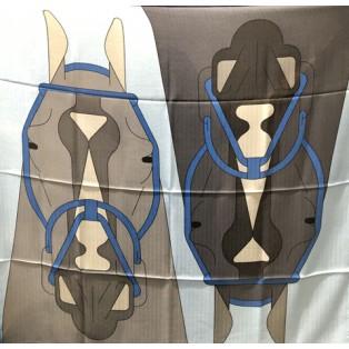愛馬仕 Chale 100 Tete A Tete Equestre (藍/灰/藍)