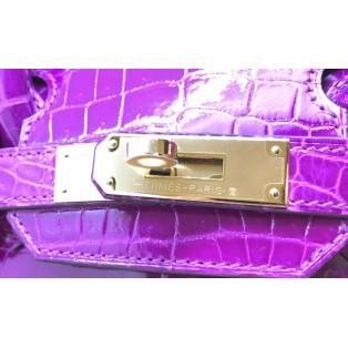 愛馬仕 Birkin 30 Niloticus 鱷魚 (●●) 金扣(J5 紫粉紅色) B