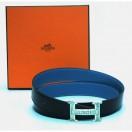 愛馬仕5382 純銀扣雙面皮帶90厘米(黑/藍)