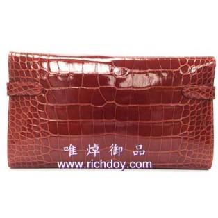 愛馬仕Kelly鱷魚銀包 金扣(55 磚紅色) H
